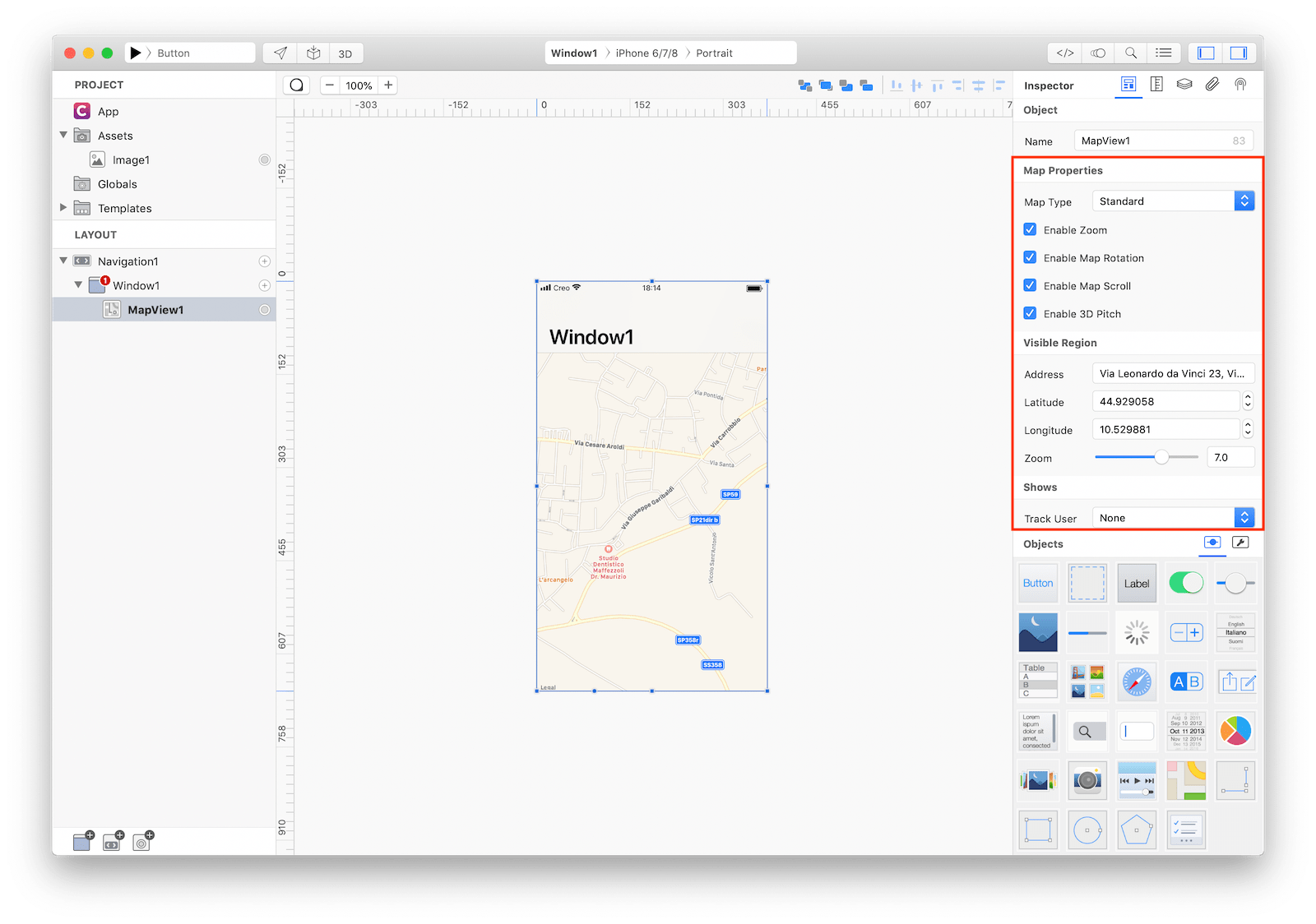 `MapView` inspector